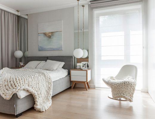 szare łóżko skandynawskie